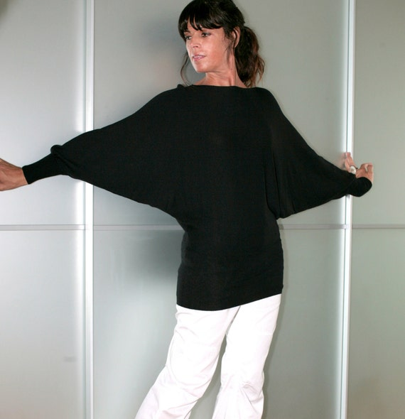 Black Cashmere Sweater Casual Knit Batwing Sleeves Size S M L XL