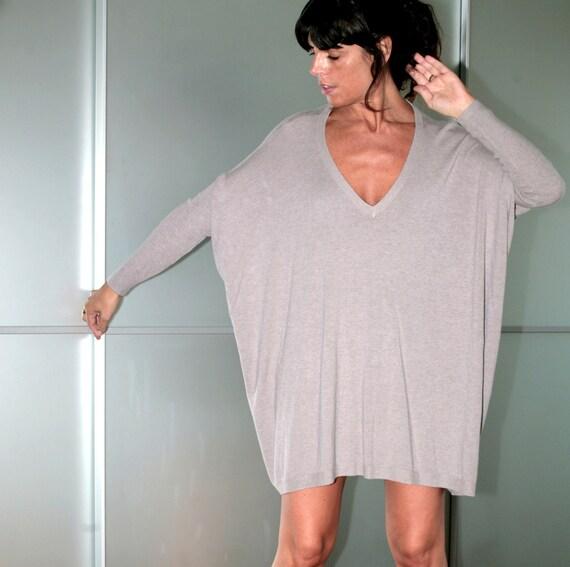 Beige Womens Oversized Cashmere Sweater Dress Size S M L XL XXL