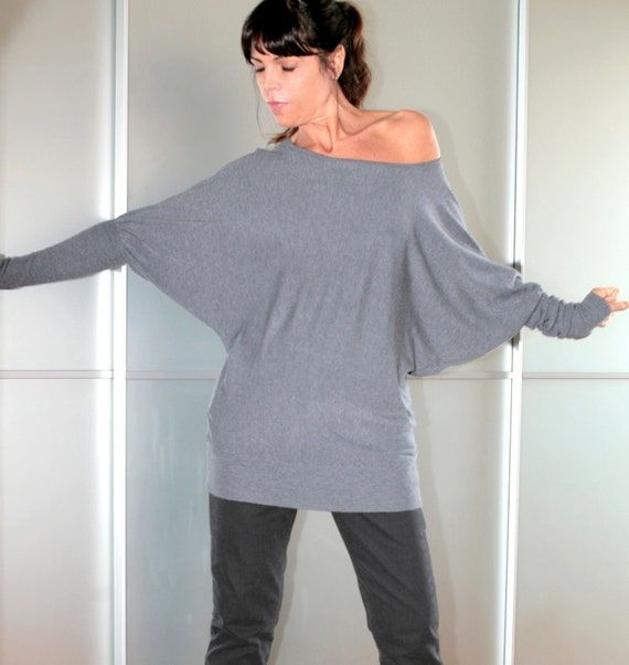 FREE SHIPPING Grey Wool Top Dolman Sleeve Feminine And Sexy Size S M L XL