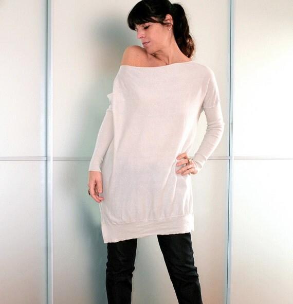 Off White Cozy Yet Stylish Knit Cotton And Silk Sweater Size S M L XL XXL