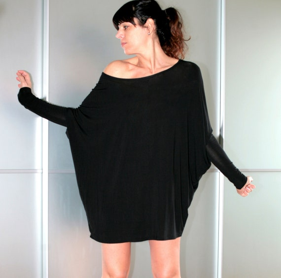 FREE SHIPPING Black Oversized Mini Dress Long Top Dolman Sleeves Feminine Size S M L XL