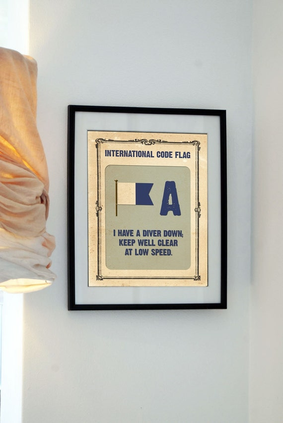 Buy 3 get the 4th free - Vintage International Code Flag - Letter A - I have a diver down...