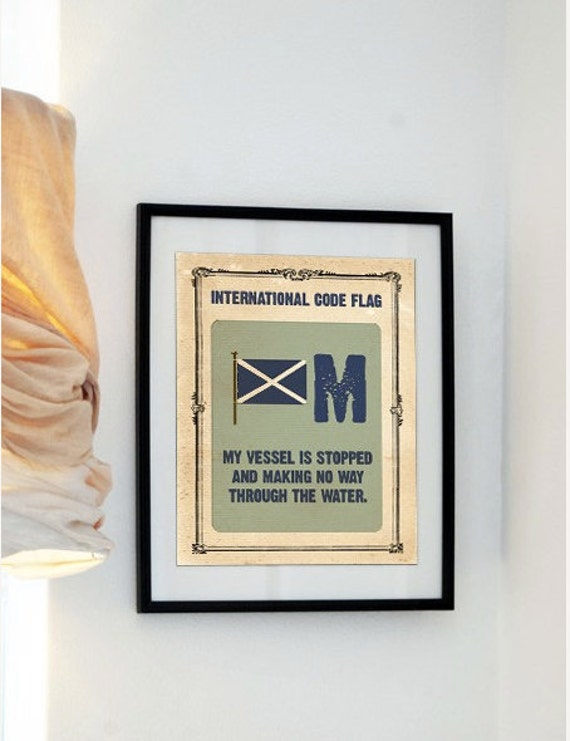 The Letter M -Vintage International Code Flag - My vessel is stopped and making no way through the water -Buy 3 Get The 4th Print Free