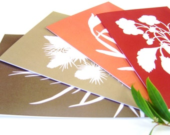 Botanical Papercut Greetings Cards (A5) - Set of Four in Tangerine Orange, Garnet Red, Brown, Autumn Fall