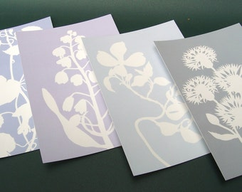 Botanical Postcards - Set of Four in Blue - Nature Inspired Floral Flower Papercut Designs