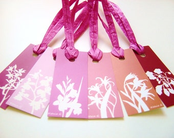 SALE: Gift Tags - Set of 12 in Pink, Red and Orange Botanical Floral Papercut Designs