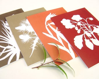 Botanical Postcards - Tangerine Orange, Garnet Red, Brown in Strawberry, Gladiolus, Thistle and Tillandsia - Set of Four