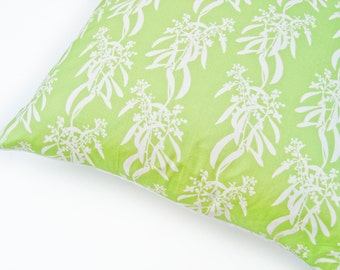 LAST ONE: Cushion Throw Pillow Cover 18 x 18 inch - Botanical Original Design in Grass Green - Handmade in UK