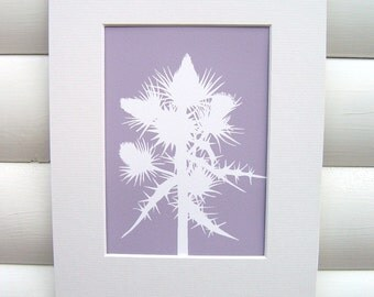 Botanical Art Print - Scottish Thistle in Dusky Lilac Purple - Modern Botanical Art Print Floral Pretty Papercut Design