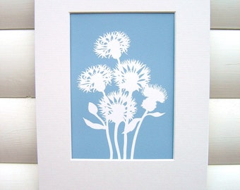 Art Print 5x7 Matted - Cornflower in Dusky Blue - Modern Botanical Floral Pretty Papercut Design