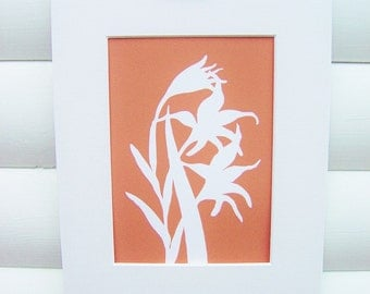 Botanical Art Print - Tangerine Orange Gladiolus  - Modern Botanical Art Floral Pretty Papercut Design - Matted 5x7