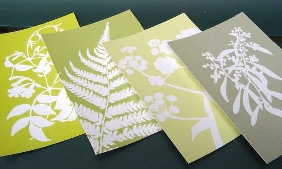 Botanical Postcards - Set of Four in Green - Lime, Sage, Meadow Floral Leaf Nature Designs