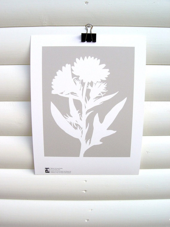 Botanical Art Print 10x8 - Modern Botanical Floral Pretty Flower Garden Paper Cut Design in Gray Grey Silver - Silphium albiflorum