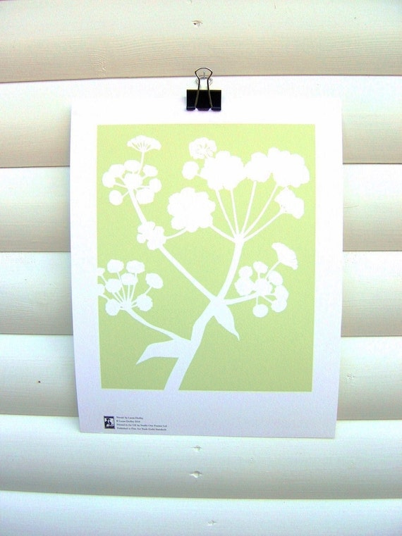 SECONDS: Botanical Art Print Green Meadow Ferula - 10x8 Modern Nature Floral Pretty Papercut Design