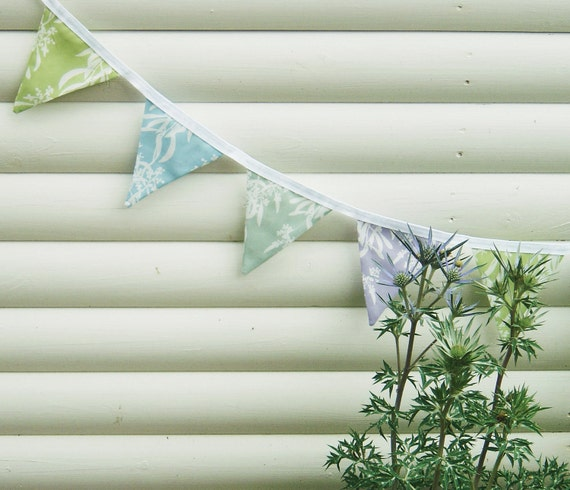 LAST ONE - Bunting Handmade Summer Pastel Banner - Green, Sage, Lilac, Blue - Floral Botanical Design 100% Cotton