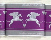 Winged Greyhound Fabric, Angel Dog Material, purple and silver grey