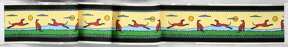 Sateen Greyhound Fabric, Organic Cotton print fabric, 1910 Style,  sun yellow brown