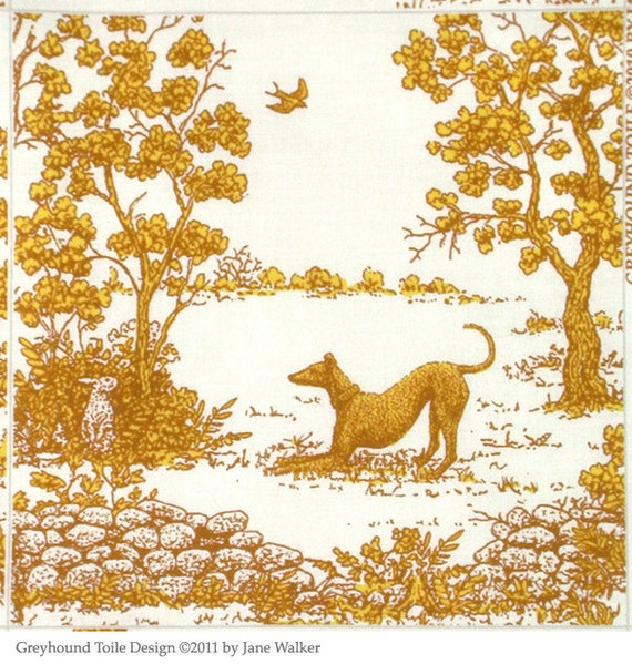 Quilting Squares Greyhound Fabric, Toile, Butterscotch Gold 14