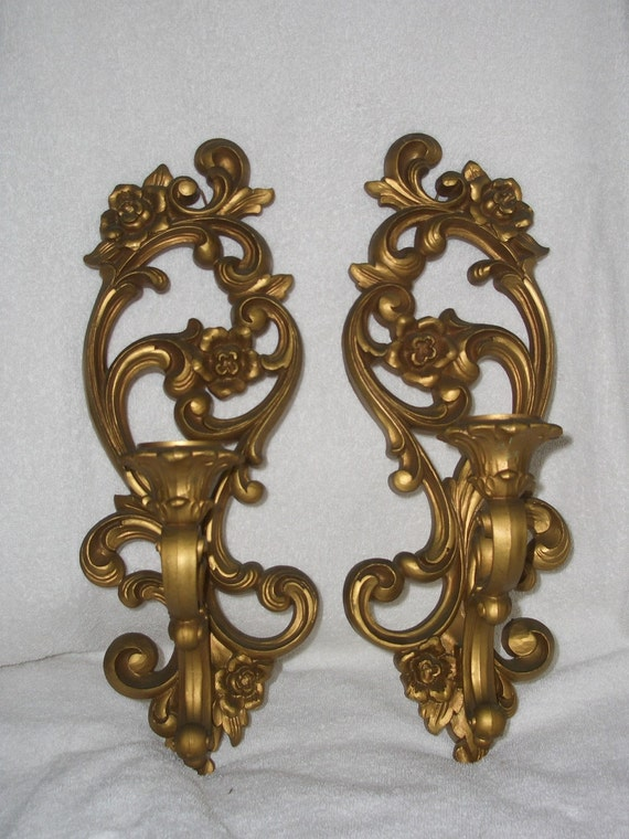 Pair Vintage Ornate Gold Candle Wall Sconce Holders by fishbones1