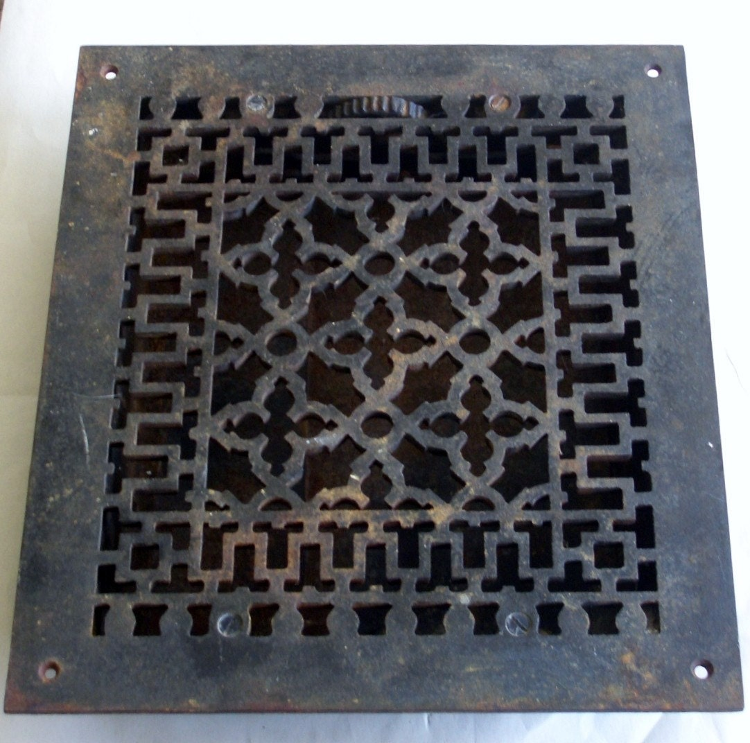 vintage antique iron floor or wall register grate complete