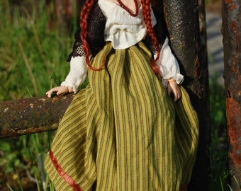 Folk art doll Mazurka - cloth and sculpt