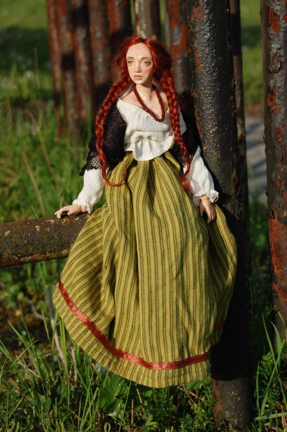 Folk art doll Mazurka - cloth and sculpt
