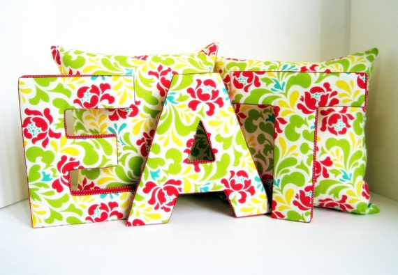 Pop Garden, 9 inch, wall letters, spelling EAT, yellow, green, red, floral, flower, kitchen, dining room