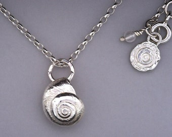 Solid 925 sterling Silver cast Greek sand dune shell pendant