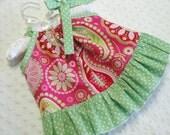 Ruffle Pillowcase Dress in Gypsy Bandana Paisley Pink