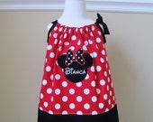 Personalized Disney Minnie Mouse Applique Pillowcase Dress Size 6 Mo to Size 8