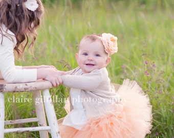 Sweet Peach Tutu - Perfect for photos and  flower girl  made in any size Newborn - 5T