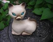 Large vintage Siamese Cat Figurine with Blue Rhinestone Eyes