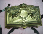 antique box casket jewelry box ornate art deco ornate VANITY DRESSER BOX