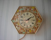 vintage clock electric mosaic tile look plastic wall or table clock general electric