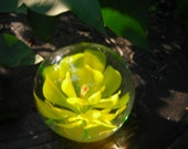 vintage glass paperweight flower yellow