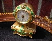 vintage wind up alarm music clock Germany flowers