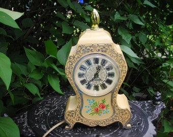vintage french clock alarm ornate silver detail westclox electric  plastic  flower roses cream