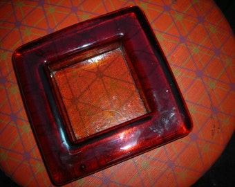 vintage murano  glass tray dish amber orange square Italy paper weight trinket