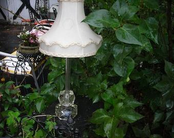 vintage crystal lamp 1930s  flowers