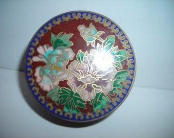 vintage Chinese trinket box enamel birds and flowers