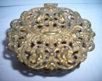 vintage trinket box ornate gold metal