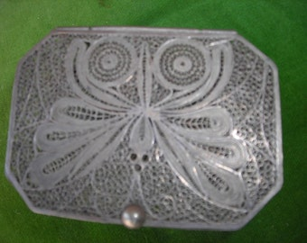 vintage silver filigree trinket box ornate butterfly metal