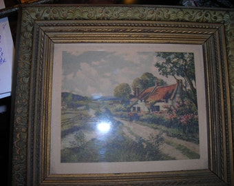 cottage bridge flowers antique 1948 Donald art co inc NY old art work wall hanging cottage