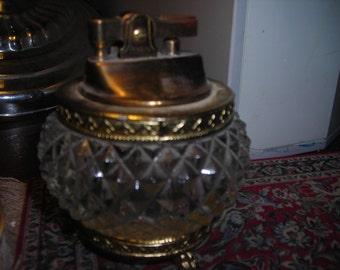 vintage glass and metal gold lighter vanity
