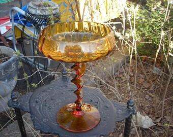 vinatge glass candy tall dish trinket dish art glass amber gold yellow