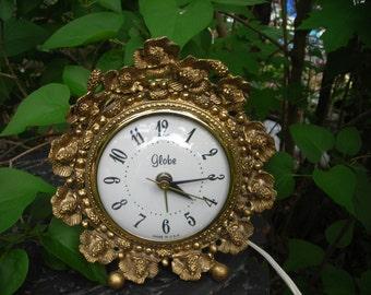 vintage alarm clock globe ornate flowers gold plate
