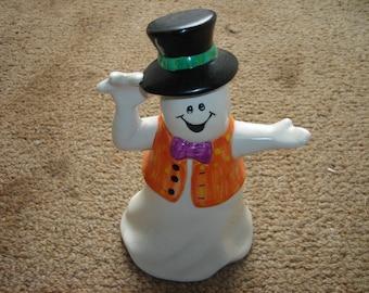 vintage holloween ghost ceramic top hat and vest