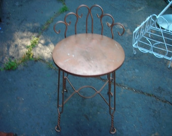 vintage  chair small vanity  kids bedroom twisted metal garden or stand metal strong