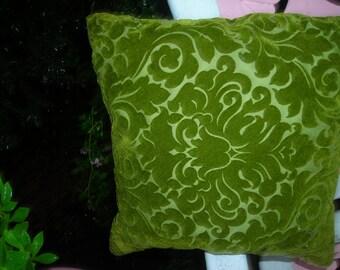 vintage pillow velveteen ornate green Hollywood