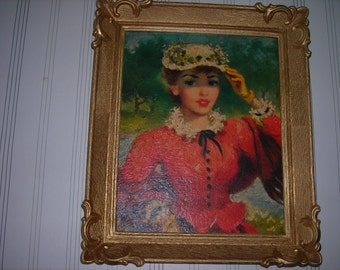 vintage art picture and plastic frame french lady red dress ornate frame painting